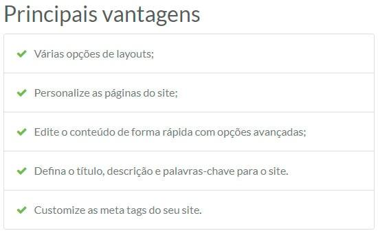 Vantagens do Criador de Sites da RedeHost